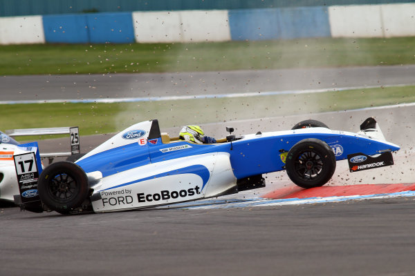 2015 MSA Formula Powered by Ford EcoBoost, Donington Park, Leicestershire. 16th - 19th April 2015. Gustavo Myasava (BRA) Double R Racing MSA Formula. World Copyright: Ebrey / LAT Photographic.