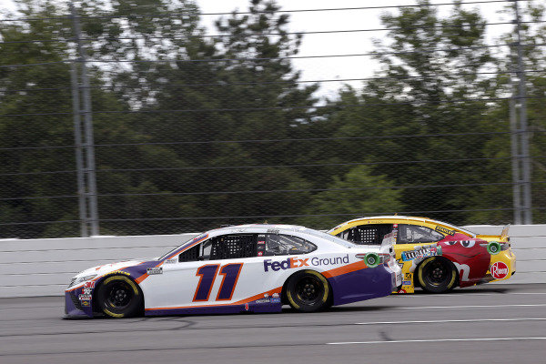 #11: Denny Hamlin, Joe Gibbs Racing, Toyota Camry FedEx Ground and #18: Kyle Busch, Joe Gibbs Racing, Toyota Camry M&M's Mini's