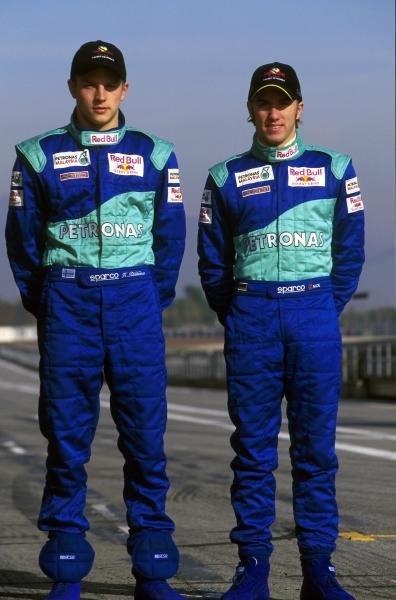 Kimi Raikkonen (FIN), left and Nick Heidfeld (D) Sauber Petronas drivers for 2001 Formula One Testing - Barcelona, Spain - 18-20  December 2000