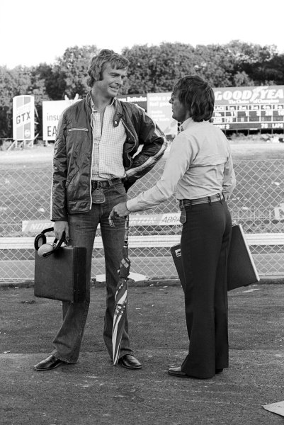 (L to R): Max Mosley (GBR) March Team Manager talks with Bernie Ecclestone (GBR) Brabham Team Manager. British Grand Prix, Rd 9, Brands Hatch, England, 18 July 1976.