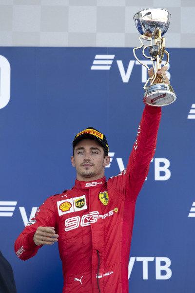third place Charles Leclerc, Ferrari SF90 celebrates on the podium