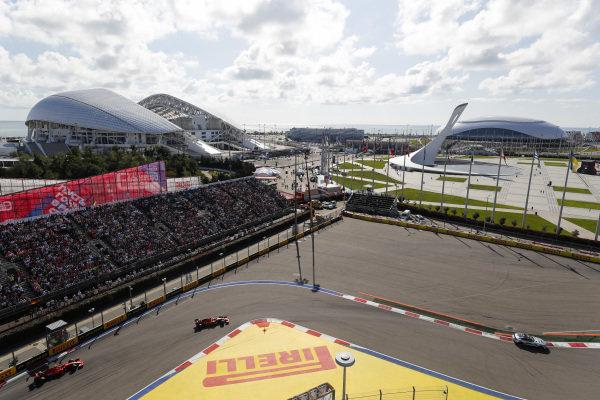 The safety-car leads Charles Leclerc, Ferrari SF90 and Sebastian Vettel, Ferrari SF90