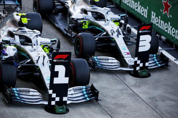 Cars of Race winner Valtteri Bottas, Mercedes AMG W10 and Lewis Hamilton, Mercedes AMG F1 W10 in Parc Ferme