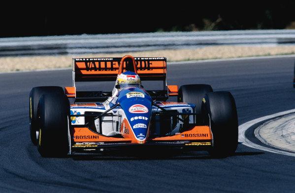 1994 Hungarian Grand Prix.Hungaroring, Budapest, Hungary. 12-14 August 1994.Michele Alboreto (Minardi 194 Ford) 7th position.Ref-94 HUN 22.World Copyright - LAT Photographic