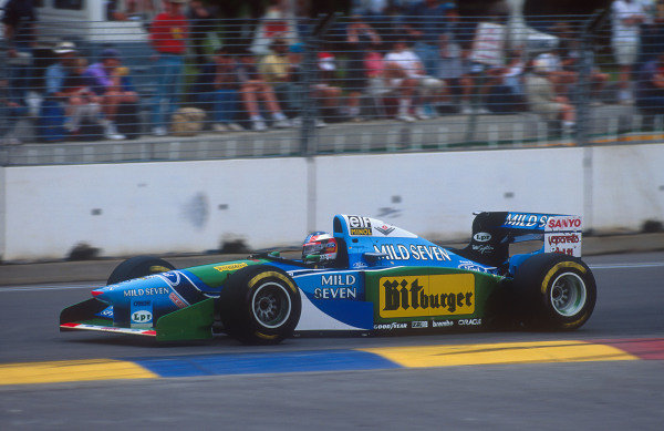 1994 Australian Grand Prix.Adelaide, Australia.11-13 November 1994.Michael Schumacher (Benetton B194 Ford). He exited the race after he hit Damon Hill when he made a move to take the lead of the race. Ref-94 AUS 19.World Copyright - LAT Photographic