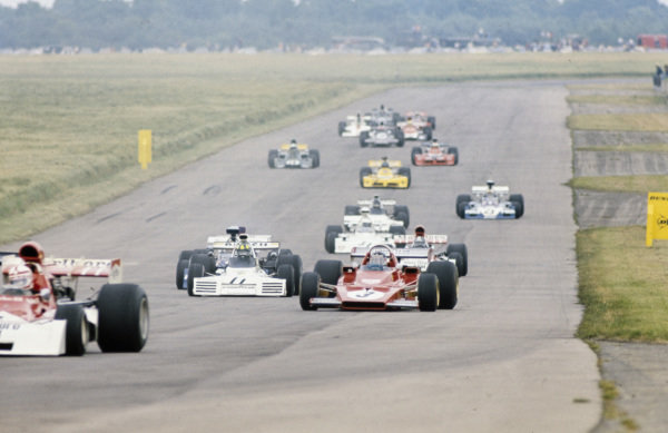 Jacky Ickx, Ferrari 312B3 leads Wilson Fittipaldi, Brabham BT42 Ford, Carlos Pace, Surtees TS14A Ford and Jean-Pierre Beltoise, BRM P160E.