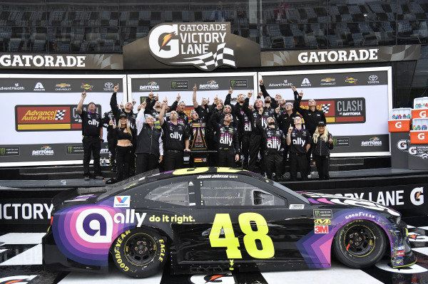 #48: Jimmie Johnson, Hendrick Motorsports, Chevrolet Camaro Ally wins the Advanced Auto Parts Clash