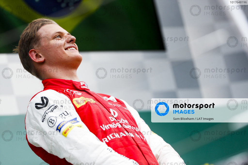 HUNGARORING, HUNGARY - AUGUST 04: Race winner Mick Schumacher (DEU, PREMA RACING) on the podium during the Hungaroring at Hungaroring on August 04, 2019 in Hungaroring, Hungary. (Photo by Sam Bloxham / LAT Images / FIA F2 Championship)
