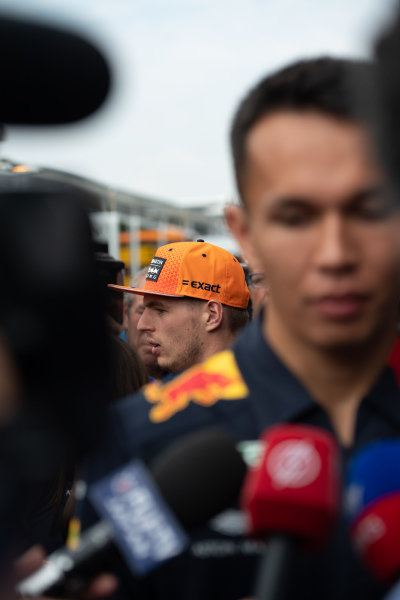Max Verstappen, Red Bull Racing and Alexander Albon, Red Bull Racing speaks to the media