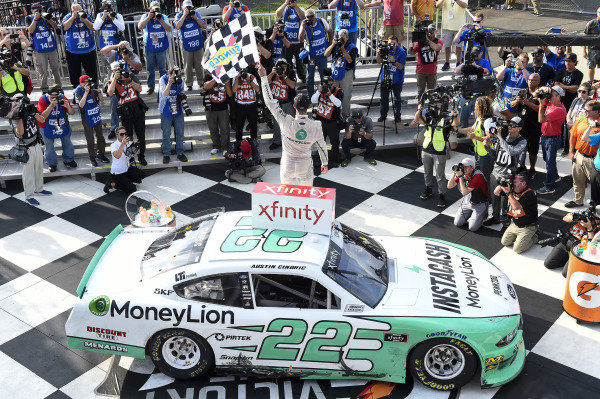 #22: Austin Cindric, Team Penske, Ford Mustang MoneyLion, celebrates in victory.