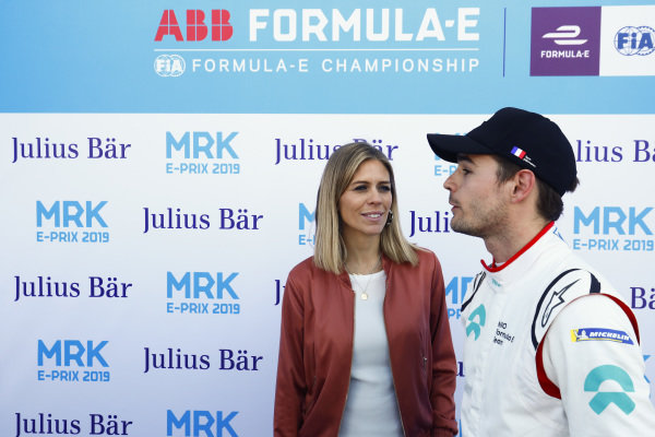 Pit Lane reporter Nicki Shields with Tom Dillmann (FRA), NIO Formula E Team