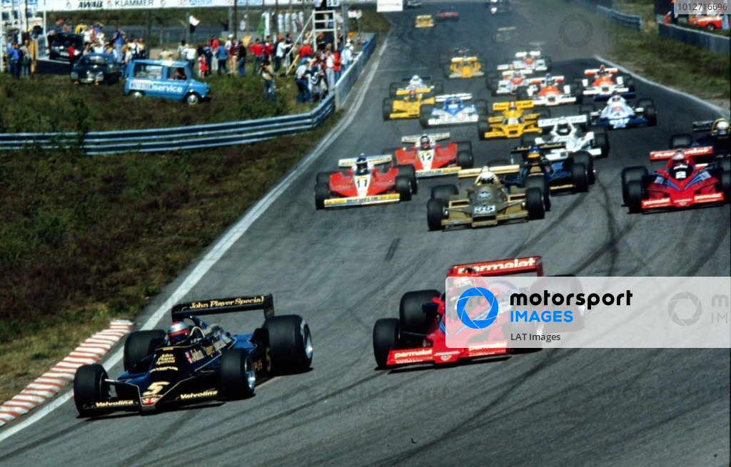 1978 Swedish Grand Prix.Anderstorp, Sweden.15-17 June 1978.Mario Andretti (Lotus 79 Ford) leads Niki Lauda (Brabham BT46B Alfa Romeo), Riccardo Patrese (Arrows FA1 Ford) and John Watson (Brabham BT46B Alfa Romeo) at the start. Lauda and Patrese finished in 1st and 2nd positions respectively while Andretti failed to finish.World Copyright - LAT Photographic