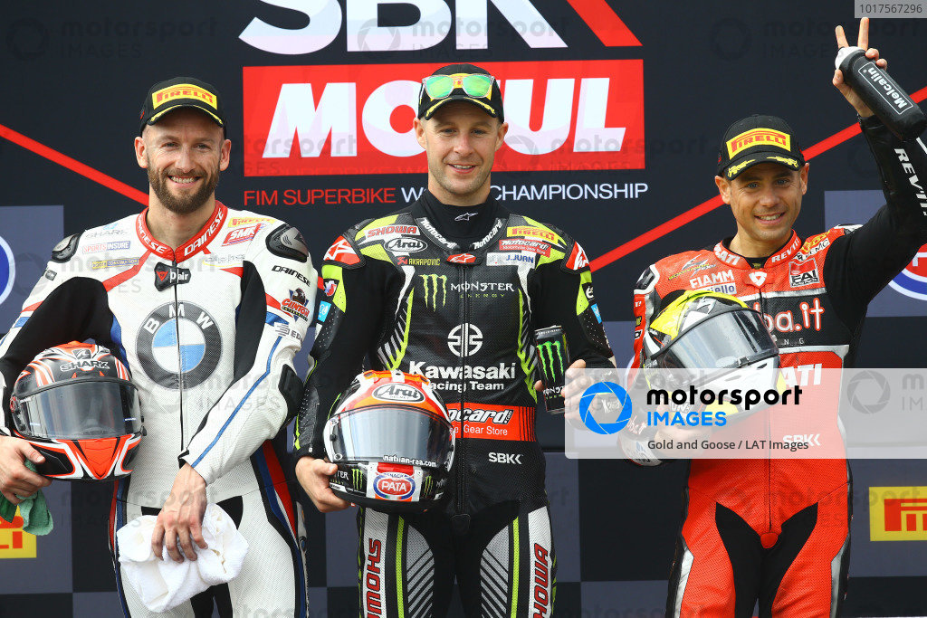 Podium: race 1 winner Jonathan Rea, Kawasaki Racing Team, second place Tom Sykes, BMW Motorrad WorldSBK Team, third place Alvaro Bautista, Aruba.it Racing-Ducati Team.