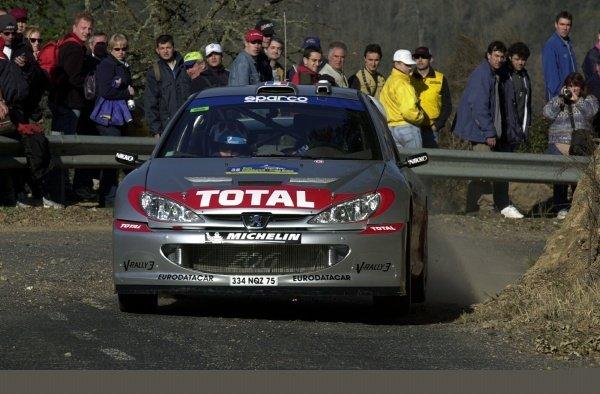 Tour de Corse winner Gilles Panizzi (FRA) Peugeot 206 WRC during shakedown.Rally Of Catalunya Shakedown, Rd4, Barcelona, Spain. 21 March 2002.DIGITAL IMAGE
