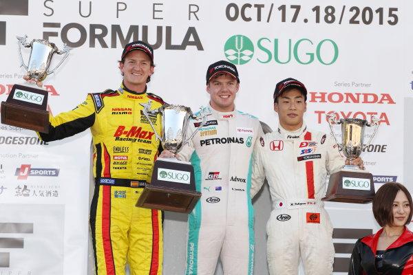 2015 Japanese Formula 3 Championship.  Sugo, Japan. 17th - 18th October 2015. Rd 16 & 17. Rd.16 Winner Nick Cassidy ( #37 PETRONAS TOM'S F314 ) 2nd position Lucas Ordonez ( #22 B-MAX NDDP F3 ) 3rd position Nirei Fukuzumi ( #7 HFDP RACING F312 ) podium World Copyright: Masahide Kamio/LAT Photographic ref: Digital Image 2015JF3_Rd16&17_04