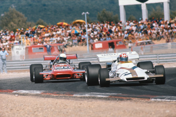 Paul Ricard, Le Castellet, France. 2-4th July 1971.  Jo Siffert, BRM P160, leads Max Jean, March 701 Ford.  Ref: 71FRA22. World Copyright: LAT Photographic