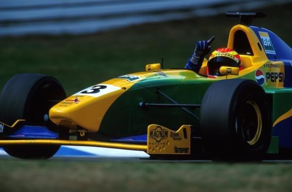 Antonio Pizzonia (BRA) Petrobras Junior Team celebrates his first F3000 victory.International Formula 3000 Championship Rd 9, Hockenheim, Germany, 28 July 2001.BEST IMAGE