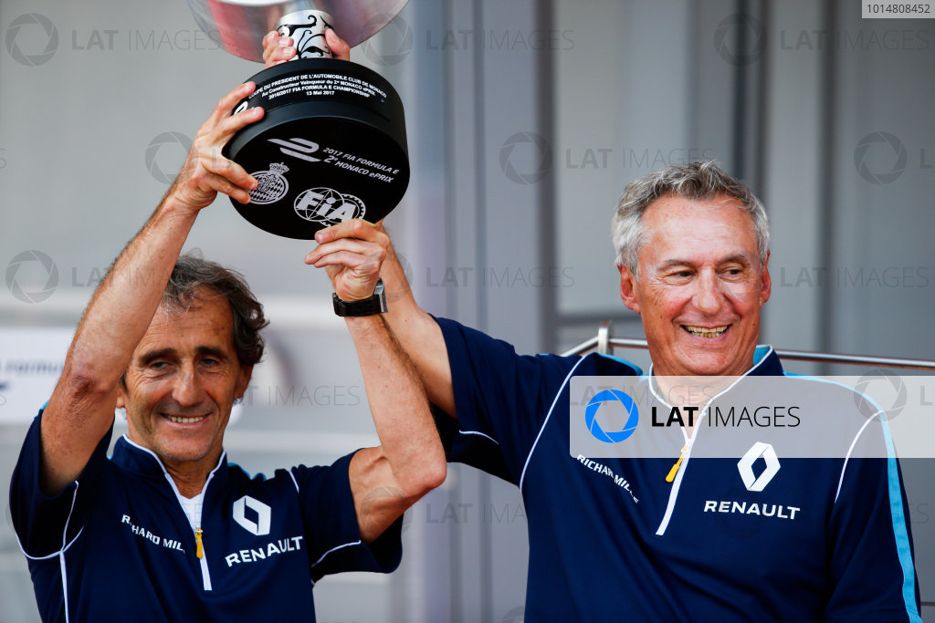 2016/2017 FIA Formula E Championship. Monte-Carlo, Monaco Saturday 13 May 2017. Alain Prost and Jean Paul Driot of eDAMs celebrate with their trophy on the podium. Photo: Alastair Staley/LAT/Formula E ref: Digital Image _X0W1332