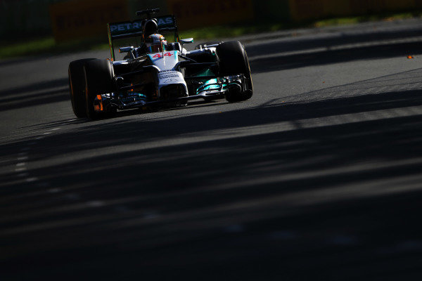 Lewis Hamilton (GBR) Mercedes AMG F1 W05. Formula One World Championship, Rd1, Australian Grand Prix, Practice, Albert Park, Melbourne, Australia, Friday 14 March 2014. BEST IMAGE