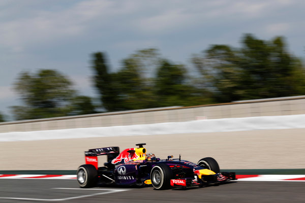 Circuit de Catalunya, Barcelona, Spain. Wednesday 14 May 2014. Sebastian Vettel, Red Bull Racing RB10 Renault. World Copyright: Sam Bloxham/LAT Photographic. ref: Digital Image _SBL0592