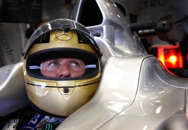 Spa-Francorchamps, Spa, Belgium 26th August 2011. Michael Schumacher, Mercedes GP W02. Portrait. Helmets.  World Copyright: Steve Etherington/LAT Photographic ref: Digital Image SNE26635