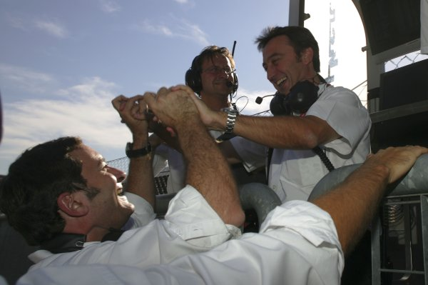 2007 GP2 Series. Round 9.Monza, Italy. 7th September 2007. Friday Qualifying.  Adrian Campos, (Campos Grand Prix) Team principal celebrates Giorgio Pantano (ITA, Campos Grand Prix) pole position. World Copyright: Alastair Staley/GP2 Series Media Service.ref: Digital Image IMG_7457