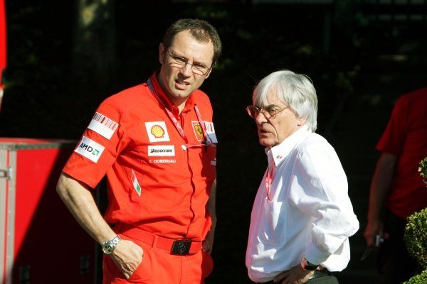 (L to R): Stefano Domenicali (ITA) Ferrari Manager of F1 Operations with Bernie Ecclestone (GBR) F1 Supremo.