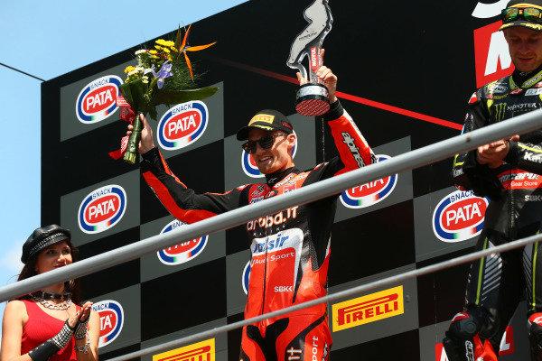 Podium: second place Chaz Davies, Aruba.it Racing-Ducati SBK Team.
