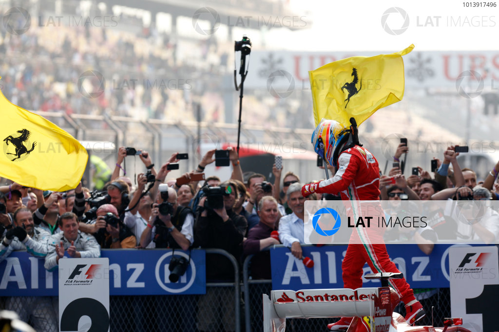Shanghai International Circuit, Shanghai, China Sunday 14th April 2013 Fernando Alonso, Ferrari, 1st position, celebrate victory on arrival in Parc Ferme. World Copyright: Alastair Staley/LAT Photographic ref: Digital Image _R6T2401
