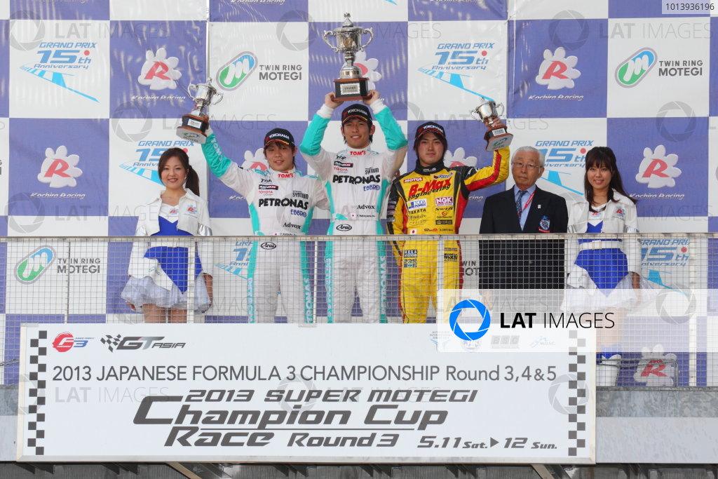 Motegi, Japan. 11th - 12th 2013. Rd 2. Race 3 - Winner  Yuichi Nakayama ( #36 PETRONAS TEAM TOM'S ) 2nd position Takamoto Katsuata ( #37 PETRONAS TEAM TOM'S ) 3rd position Katsumasa Chiyo ( #50 B-MAX ENGINEERING ) podium, portrait World Copyright: Yasushi Ishihara/LAT Photographic Ref: 2013JF3_Rd5_08