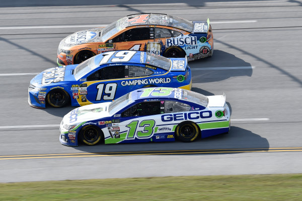 Monster Energy NASCAR Cup Series Alabama 500 Talladega Superspeedway Talladega, AL USA Sunday 15 October 2017 Daniel Suarez, Joe Gibbs Racing, Camping World Toyota Camry, Ty Dillon, Germain Racing, GEICO Chevrolet SS, Kevin Harvick, Stewart-Haas Racing, Busch Light Outdoors Ford Fusion World Copyright: John K Harrelson LAT Images