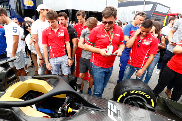 Autodromo Nazionale di Monza, Italy. Thursday 31 August 2017 Charles Leclerc (MCO, PREMA Racing), and Antonio Fuoco (ITA, PREMA Racing), check out the new F2 car. Photo: Sam Bloxham/FIA Formula 2 ref: Digital Image _W6I2073