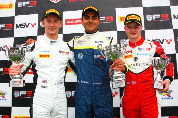 2017 BRDC British F3 Championship, Spa-Francorchamps, Belgium. 7th - 8th July 2017. Race 3 Podium (l-r) Toby Sowery (GBR) Lanan Racing BRDC F3, Enaam Ahmed (GBR) Carlin BRDC F3, Ben Hingeley (GBR) Fortec Motorsports BRDC F3. World Copyright: JEP/LAT Images.
