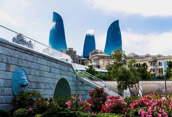 2017 FIA Formula 2 Round 4. Baku City Circuit, Baku, Azerbaijan. Wednesday 21 June 2017. A view of the Flame Towers. Photo: Zak Mauger/FIA Formula 2. ref: Digital Image _56I5933