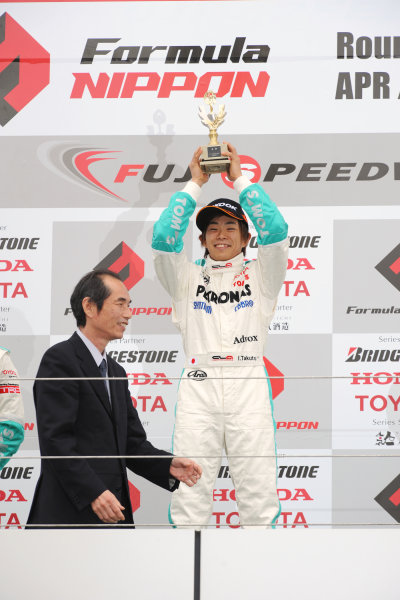 Fuji, Japan. 5th April 2009.Rd2 - Winner Takuto Iguchi ( #36 PETRONAS TOM'S F308 ) Podium portrait.World Copyright: Yasushi Ishihara/LAT Photographicref: 2009JF3_R2_004