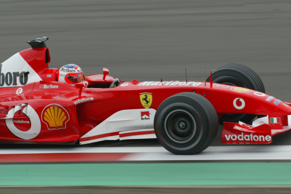 2003 European Grand Prix - Saturday Qualifying, Nurburgring, Germany.28th June 2003.Rubens Barrichello, Ferrari F2003 GA, action.World Copyright LAT Photographic.Digital Image Only.