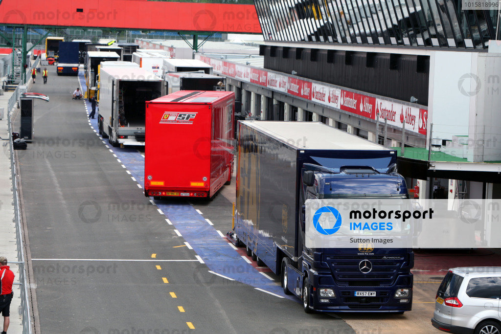 The FIA and team transporters in the pit lane.British Grand Prix, Rd8, Silverstone, England, Early Preparations, Tuesday 16 June 2009.