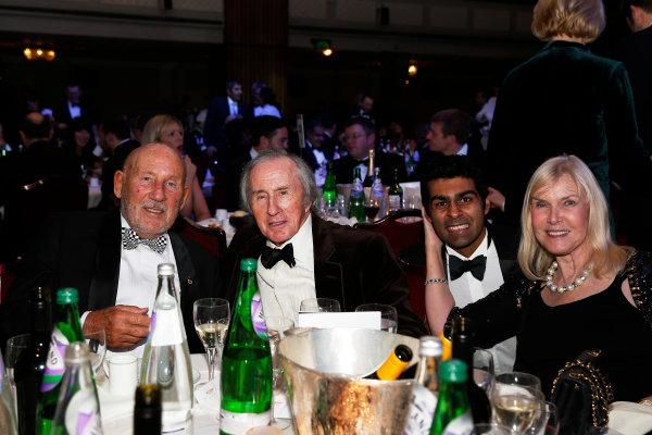 2015 Autosport Awards. Grosvenor House Hotel, Park Lane, London. Sunday 6 December 2015. Sir Stirling Moss, Sir Jackie Stewart and Karun Chandhok. World Copyright: Adam Warner/LAT Photographic. ref: Digital Image _L5R9149