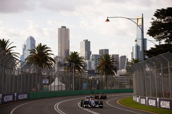 Albert Park, Melbourne, Australia. Sunday 20 March 2016. Felipe Nasr, Sauber C35 Ferrari, leads Jenson Button, McLaren MP4-31 Honda. World Copyright: Charles Coates/LAT Photographic ref: Digital Image _J5R4084