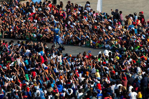 2015/2016 FIA Formula E Championship. Mexico City ePrix, Autodromo Hermanos Rodriguez, Mexico City, Mexico. Saturday 12 March 2016. Sebastien Buemi (SUI), Renault e.Dams Z.E.15. Photo: Zak Mauger/LAT/Formula E ref: Digital Image _79P3901