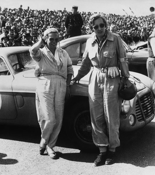 Le Mans, France. 23rd - 24th June 1951 Yvonne Simon and Betty Haig pose by their Ferrari 166MM Berlinetta, 15th position, portrait. World Copyright: LAT Photographic Ref:  B/W Print