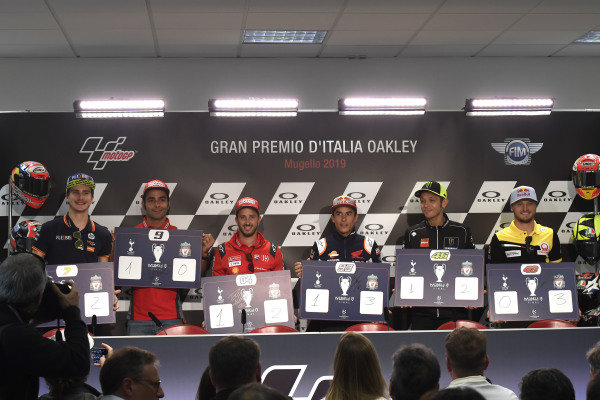 Baldassarri, Danilo Petrucci, Ducati Team, Andrea Dovizioso, Ducati Team, Marc Marquez, Repsol Honda Team, Valentino Rossi, Yamaha Factory Racing, Jack Miller, Pramac Racing.