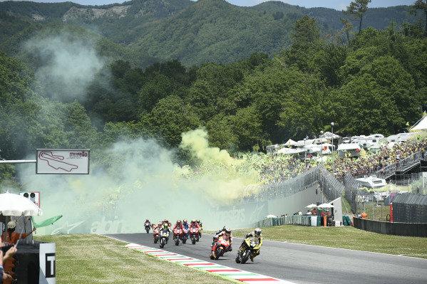 Jack Miller, Pramac Racing, warm up lap, flares.
