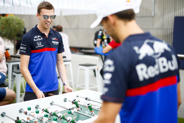 Daniil Kvyat, Toro Rosso and Pierre Gasly, Toro Rosso play table football