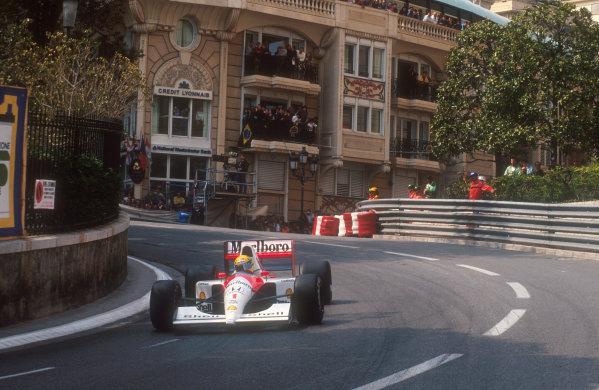 1991 Monaco Grand Prix.Monte Carlo, Monaco.26-28 April 1991.Ayrton Senna (McLaren MP4/6 Honda) 1st position at Mirabeau.Ref-91 MON 28.World Copyright - LAT Photographic