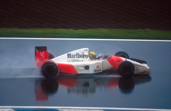 1992 Spanish Grand Prix.Catalunya, Barcelona, Spain.1-3 May 1992.Ayrton Senna (McLaren MP4/7A Honda) 9th position.Ref-92 ESP 04.World Copyright - LAT Photographic