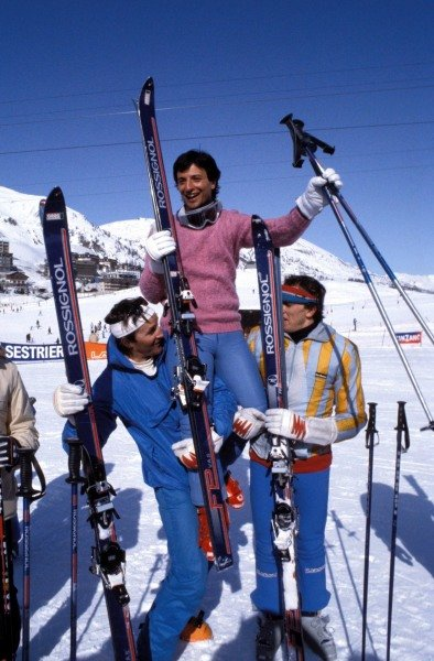 Kitzbuhel, Austria. 1983. Riccardo Patrese is lifted into the air on the ski slopes