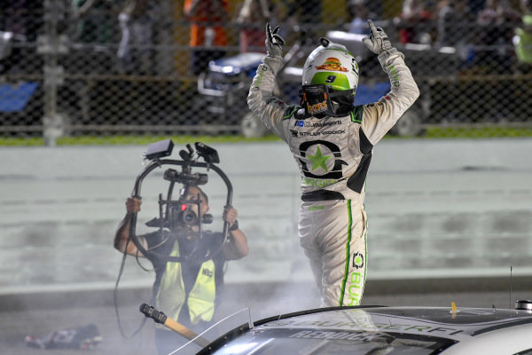 Tyler Reddick driver of the #9 JR Motorsports BurgerFi Chevrolet Camaro wins the Ford EcoBoost 300 and the Xfinity championship.