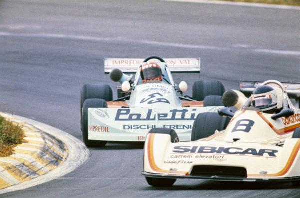 Roberto Marazzi, Chevron B35 BMW, leads Gaudenzio Mantova, March 762 BMW.
