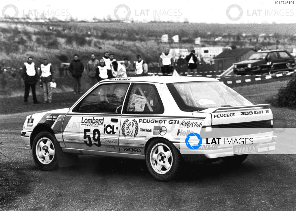 1992 World rally Championship Lombard RAC Rally, United Kingdom, 1992. Richard Burns Peugeot 309 GTi 16. Finished 47th World Copyright:LAT Photographic